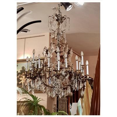 Chandelier In Gilded Bronze And Cut Crystal, Mid 19th Century