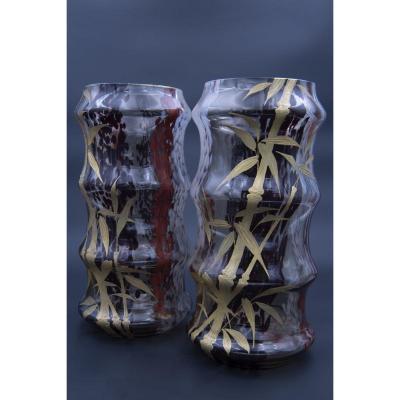 Paire De Vases, Cristallerie De Saint-denis, Circa 1870