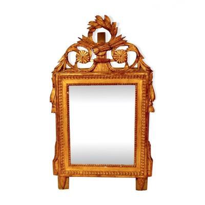 Miroir En Bois Doré D'époque Louis XVI, XVIIIe Siècle