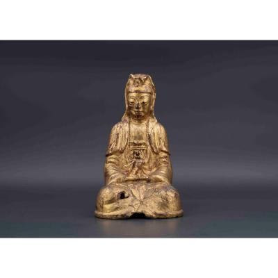 Guanyin Gold Lacquered Bronze, 18th Century