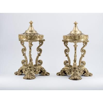 Pair Of Athenian Incense Burners, 19th Century