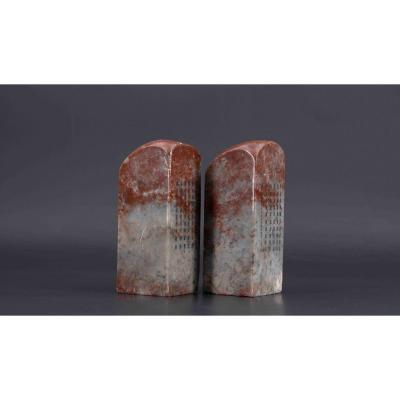 Pair Of Soapstone Seals, Late XIXth Or Early 20th Century, China
