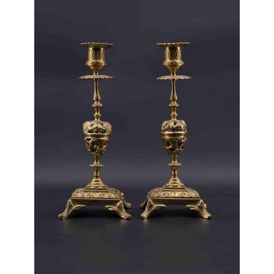 Pair Of Bronze Candlesticks, 19th Century