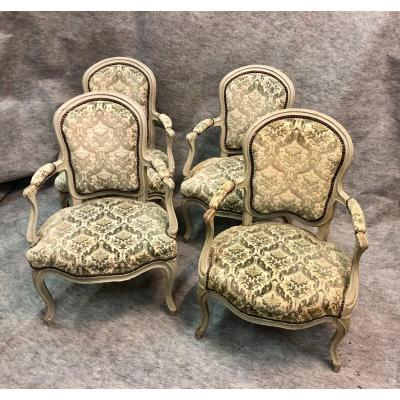 Suite Of Four (4) Medallion Armchairs, Mid 19th Century