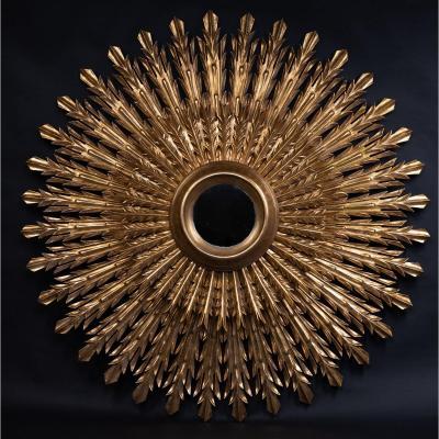 Miroir Soleil En Bois Doré, XXe Siècle