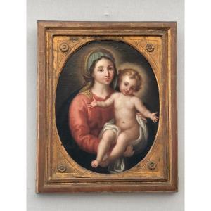 Vierge à L'enfant, Huile Sur Toile. Italie, XVIIIe Siècle