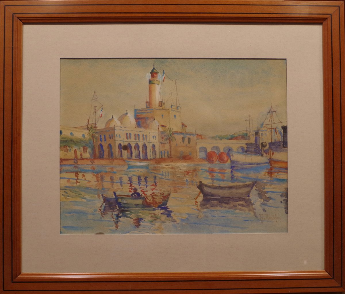 Gustave Barbichon Watercolor From Port d'Alger (admiralty)