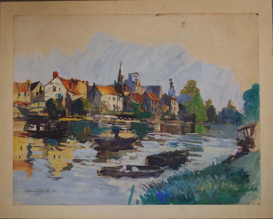 Lucien-victor-delpy (1898-1967) Gouache On Cardboard, Bord De Rivière