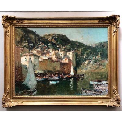 Merio Ameglio (1897-1970) Vue De Vilefranche-sur-mer
