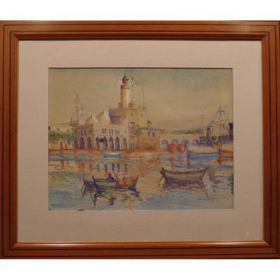Gustave Barbichon Aquarelle Du Port d'Alger (l'amirauté)