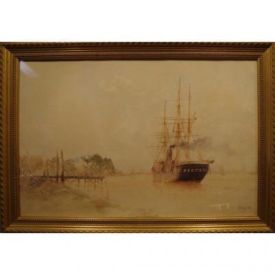 Alfred Benoit Caillaud (1858-1840) Aquarelle d'Un Trois Mats Remontant Un Fleuve