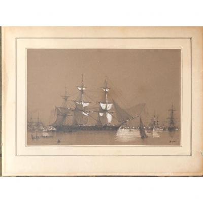 François Pierre Barry (1813-1905) Dessin et gouache d'Un Bateau à Gibraltar