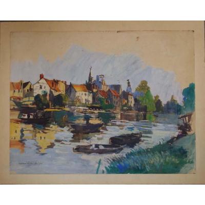 Lucien-victor-delpy (1898-1967) Gouache sur carton, Bord De Rivière