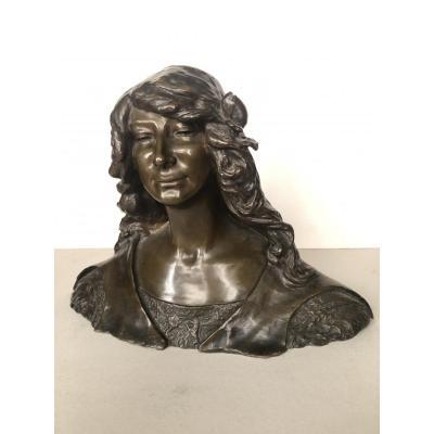 Léon Noel Delagrange ( 1872 1910 ) Bronze Patine Brune La Belle Milanaise