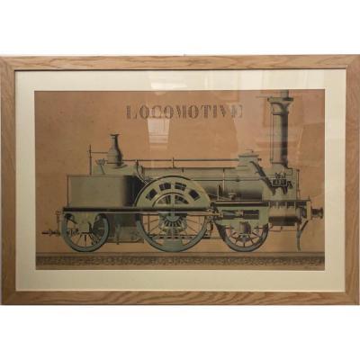 Aquarelle D'une Locomotive à Vapeur Fin XIXème