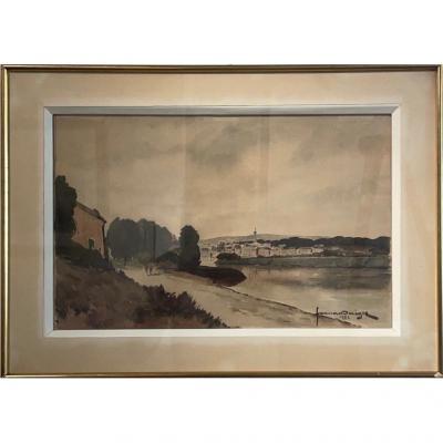 Fernand Negre (1899-1985) Bors de Marne à Chateau-Thierry