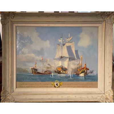 Claude Le Baube (1919-2007) Naval Battle Of July 10, 1684