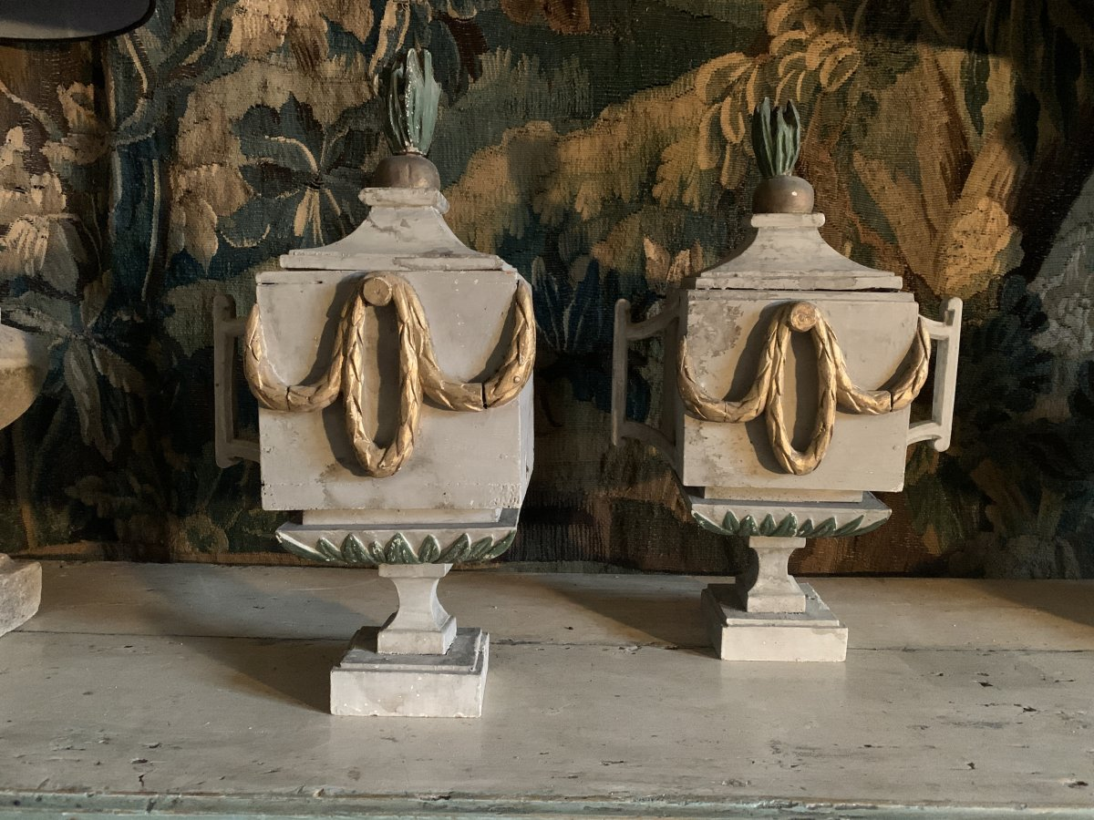 Pair Of Painted Wood Fire Pots