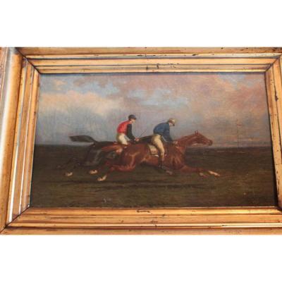 """""""les Courses"""" Huile Sur Toile De Paul Le More (1863-1914)"""