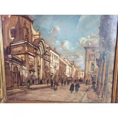Avignon - Gouache De Joseph Hurard