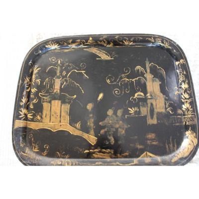 Tole Tray Painted With Chinese Decor