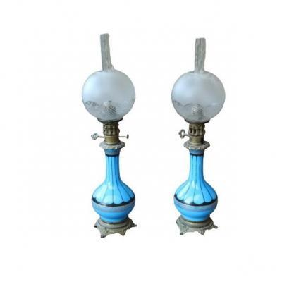 Opaline Oil Lamps