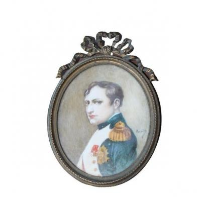 Napoleon 1st. Miniature On Ivory Signed Vernier
