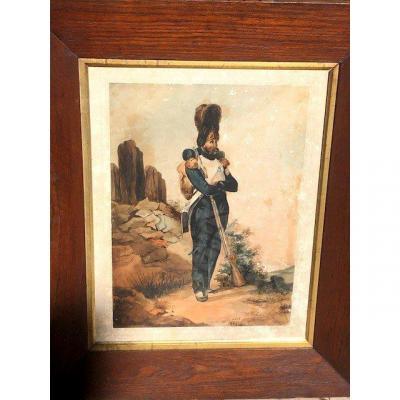 Watercolor Signed Eugène Charles François Guerard 1821-1866