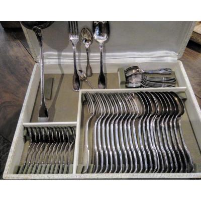 Christofle Silver Metal Housewife 49 Pieces Twentieth