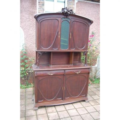 Buffet Two Corps D Art Nouveau Period Mahogany In The Taste Of Majorelle Free Shipping