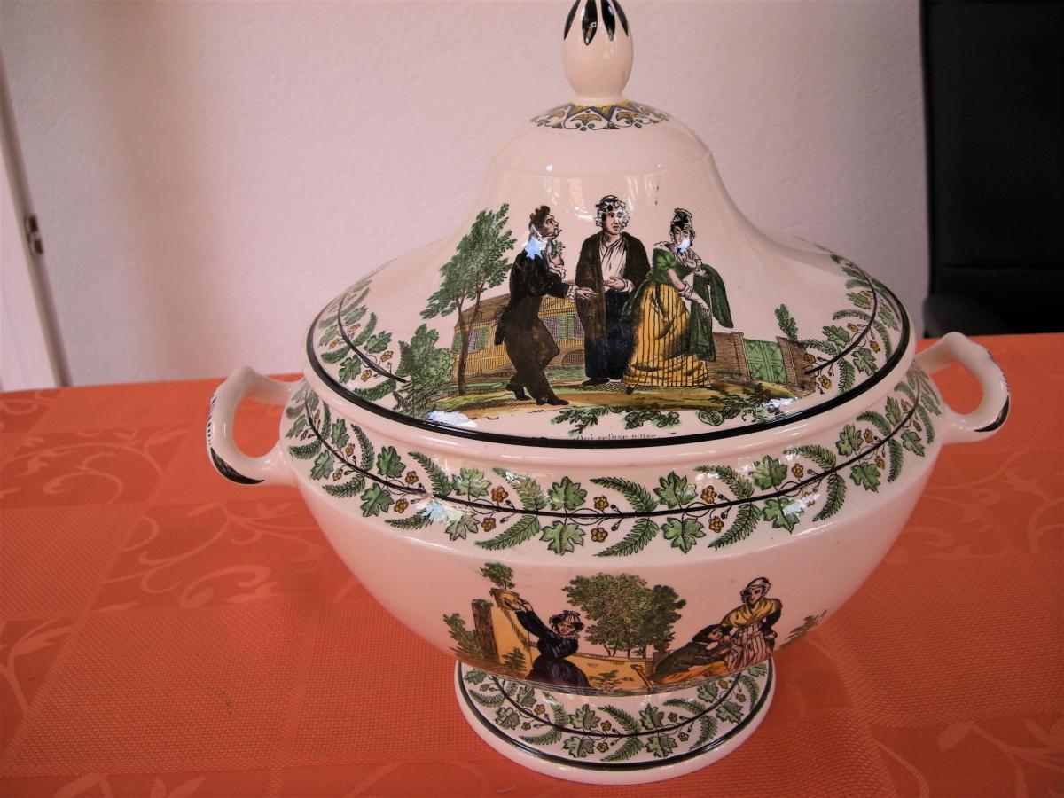 Soupiere  En  Faience  Polychrome  Vers  1820  Signee  Montereau-photo-3