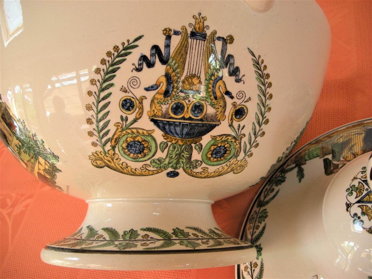 Soupiere  En  Faience  Polychrome  Vers  1820  Signee  Montereau-photo-4