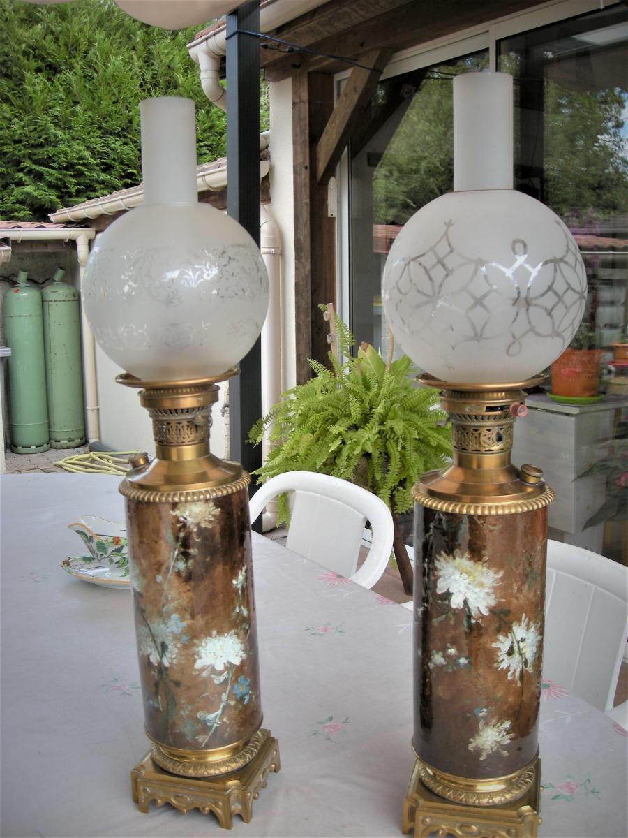 Pair Of Lamps In Barbotine Signed Dominique Grenet De Gien