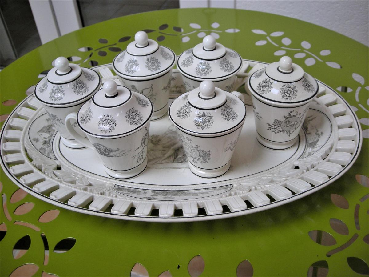 Tray With 6 Pots A Creme Faience Empire Signed Creil