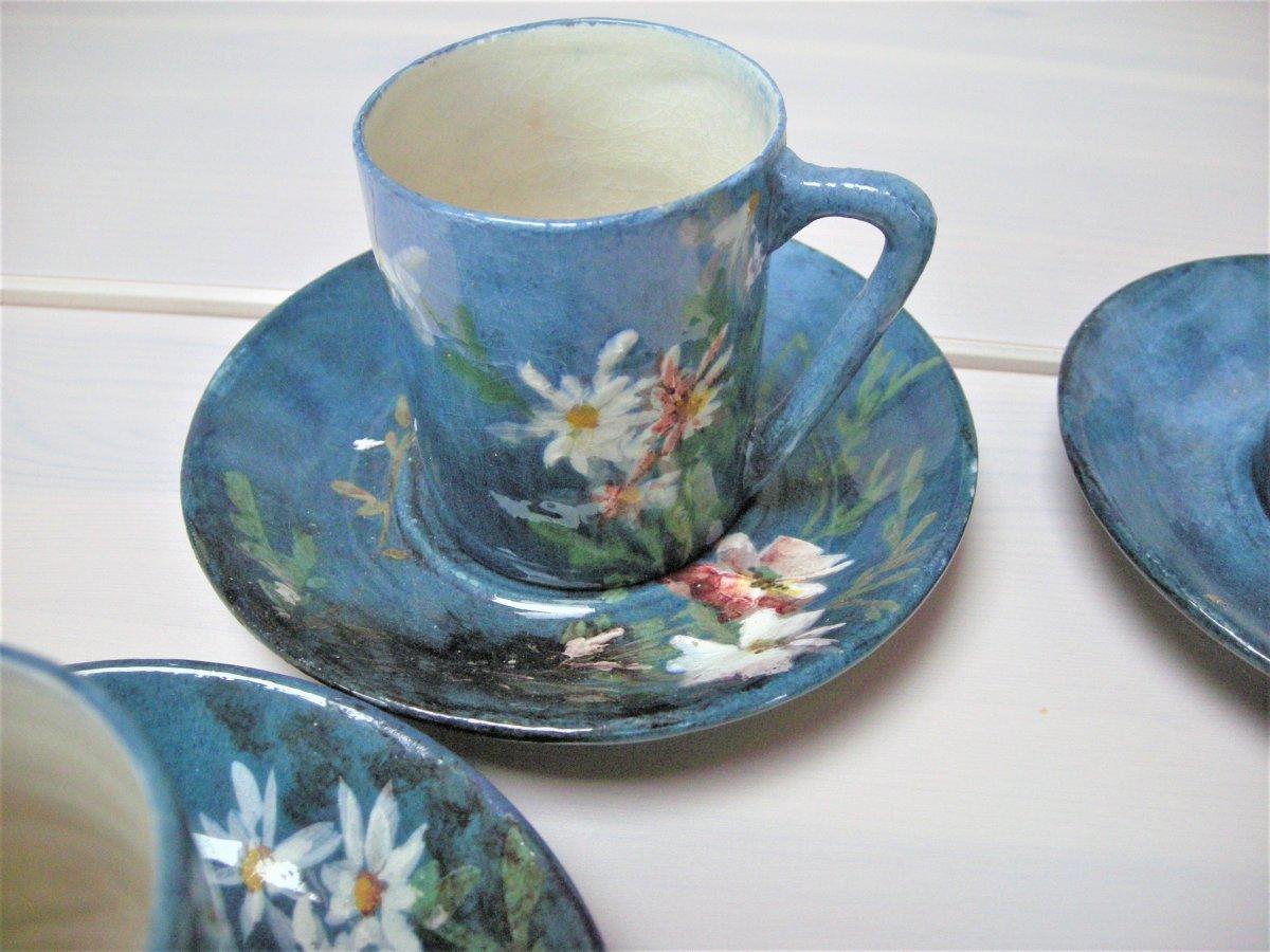 5  Tasses  Et  Soucoupes  Gres  Impressionniste  1890  De  Montigny Sur Loing-photo-1