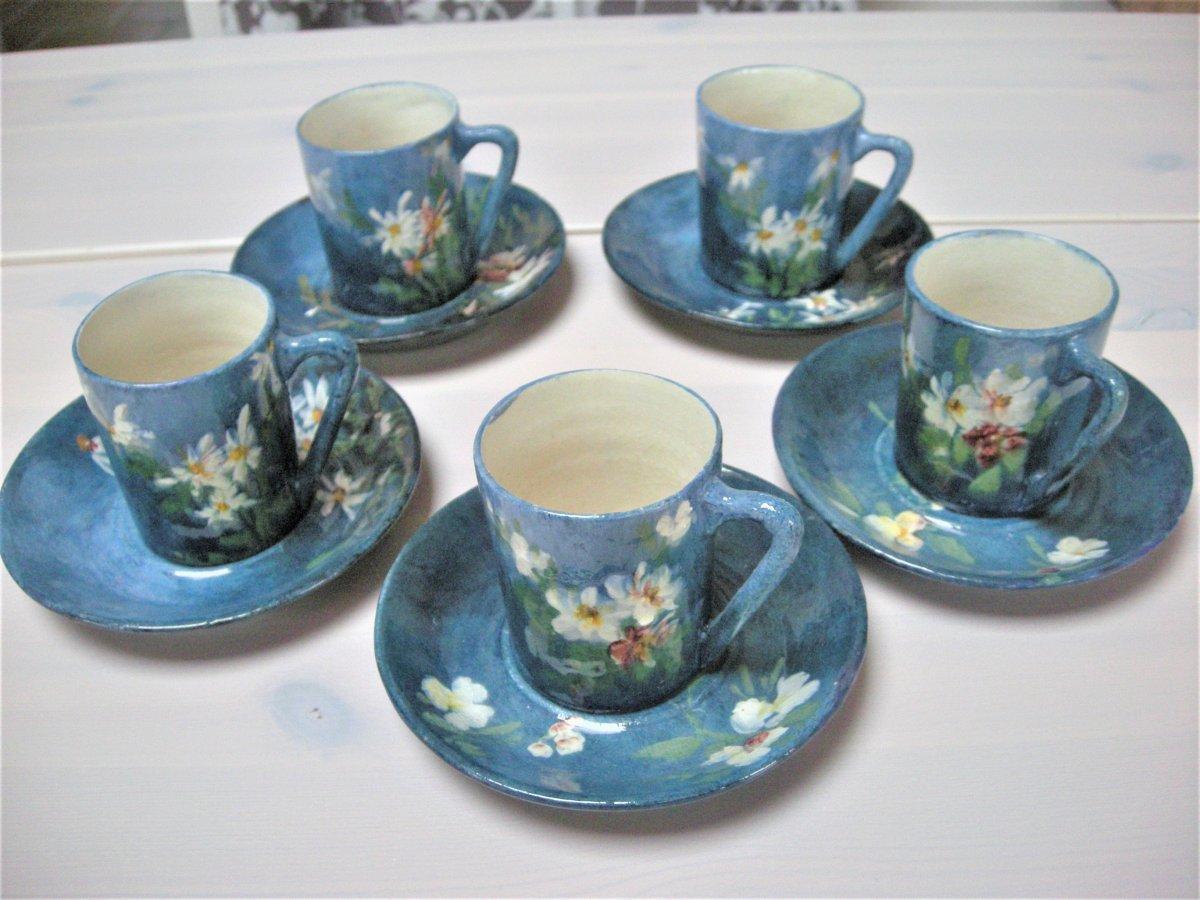 5  Tasses  Et  Soucoupes  Gres  Impressionniste  1890  De  Montigny Sur Loing