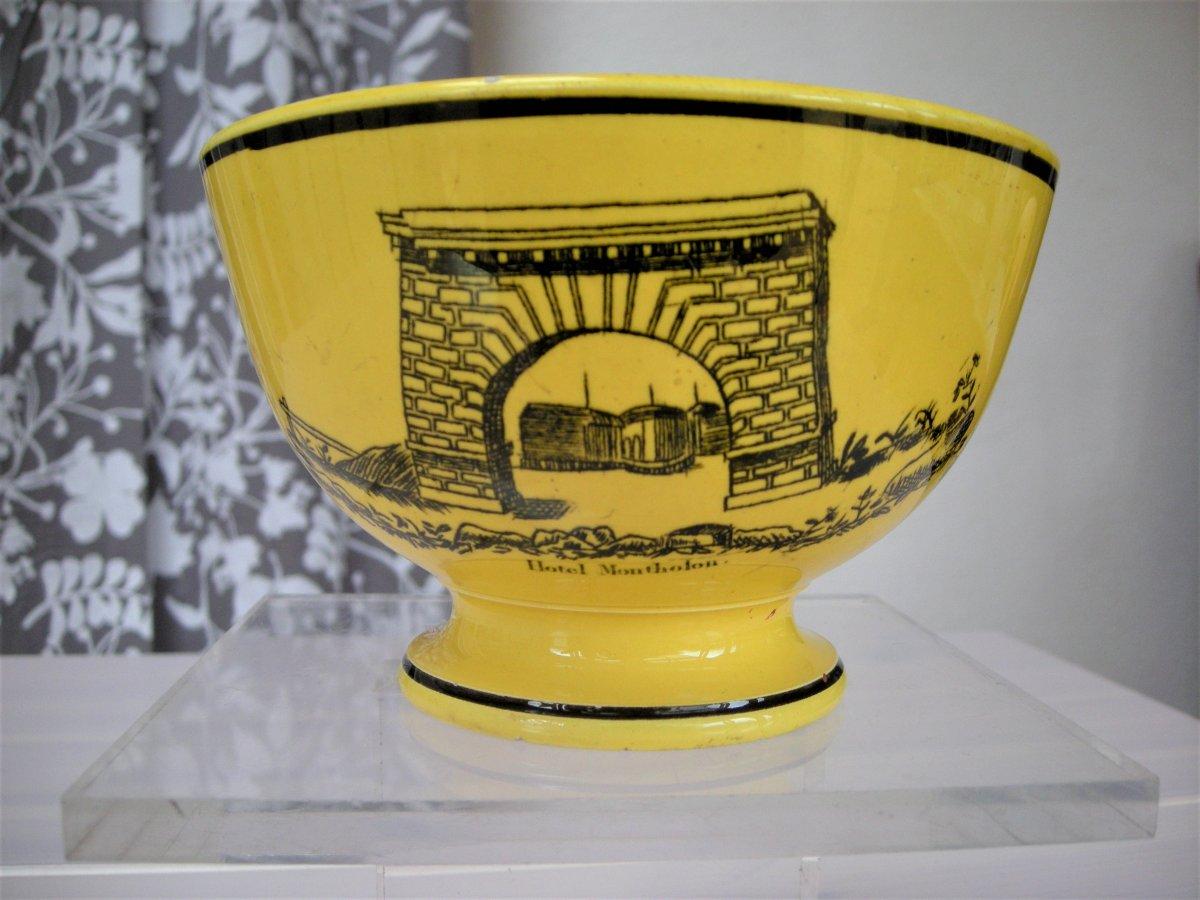 Fine Earthenware Bowl XIXth Monuments Decor Montereau Sign