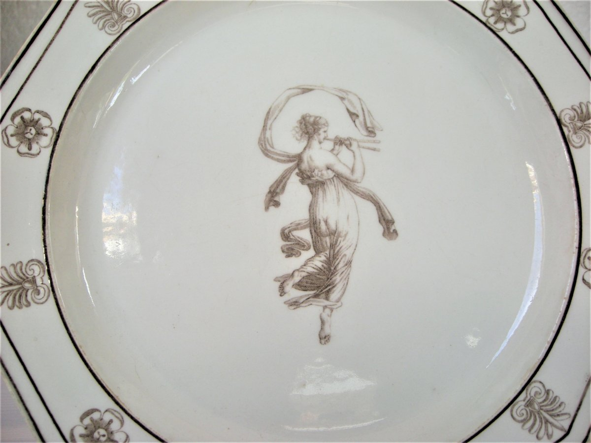 Faience Plate Fine Decor Deesse Antique From Lambert A Sevres