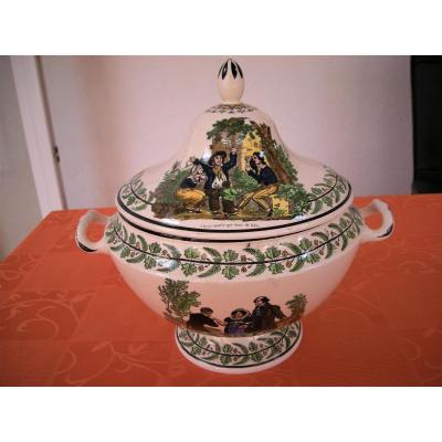 Tureen In Polychrome Faience Circa 1820 Signed Montereau