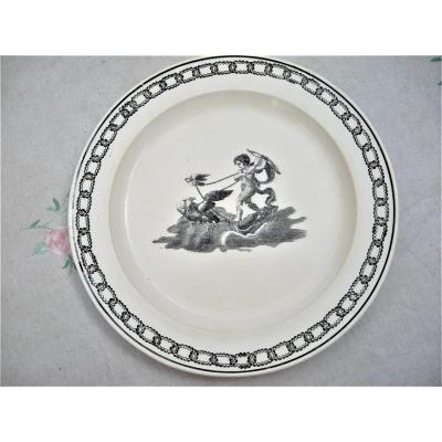 Rare Plate In Fine Faience Around 1820 Montereau