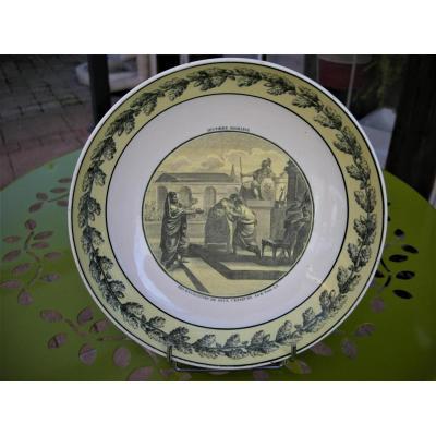 Plat  Rond  En  Faience  Fine  1808 - 1818  De  La  Manufacture  De  Creil