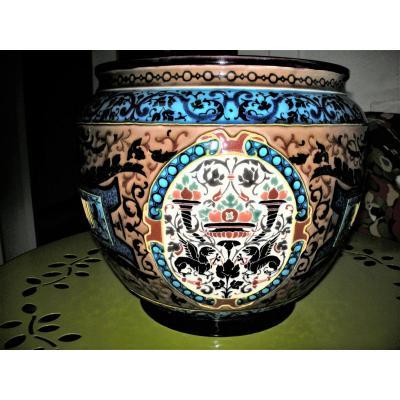 Cache - Pot  Emaux  Caranza  1880  De  Jules Vieillard A Bordeaux
