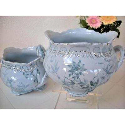 Pair Of Cache - Pot Decor Chantilly From Creil And Montereau