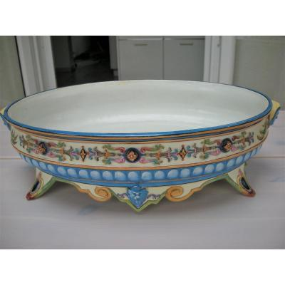 Jardiniere In Nineteenth Faience Signed Creil And Montereau