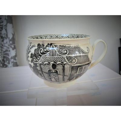 Mug In Terre De Pipe 1810 Decor Grisaille Signed Creil