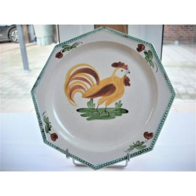 Assiette  En  Faience  Fine  1820 / 1825  Decor  Au  Coq   d' Aumale