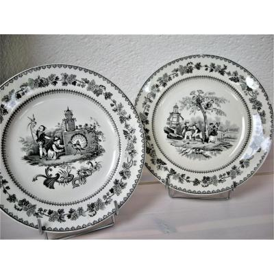 Opaque Porcelain Plates Decor Chinese Children 1834 From Creil