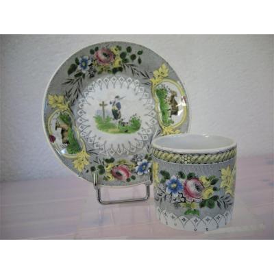 Opaque 1844 Creil Et Montereau Porcelain Cup / Saucer