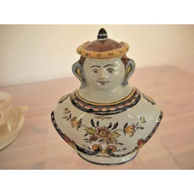 Bottle - Polychrome Faience Character From The East