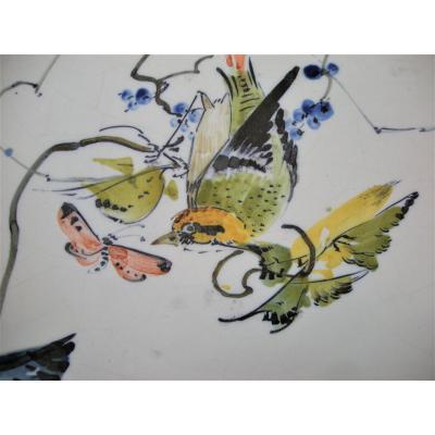 Coupe Haute  Faience 1860 Decor Japonisme De Bourg La Reine
